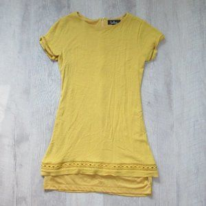 Lulus Mustard Yellow Mini Dress Crochet Detail Med
